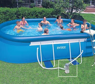 piscine autoport e intex ovale 5 49 x 3 05 x 1 07 m filtration. Black Bedroom Furniture Sets. Home Design Ideas