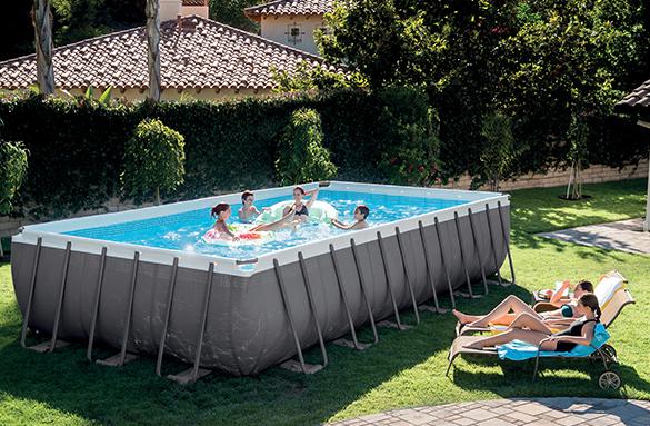 Piscine tubulaire rectangulaire intex 7 32x3 66x1 32 m filtration - Comment mettre une piscine hors sol de niveau ...