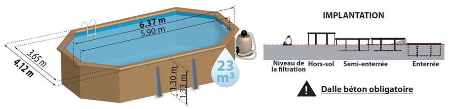 Piscine bois safran 6 37 x 4 12 m sunbay pas cher for Installation piscine bois