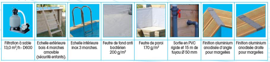 Piscine bois rectangulaire lin a 8 x 5 m ubbink for Piscine bois autoclave classe 4