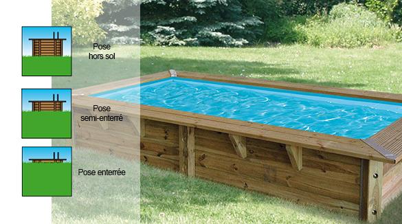 Piscine bois ubbink azura 3 5x2x0 71m liner bleu for Acheter piscine bois