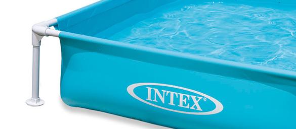 piscine tubulaire carr e intex 1 22x 0 30 m bleu pas cher. Black Bedroom Furniture Sets. Home Design Ideas