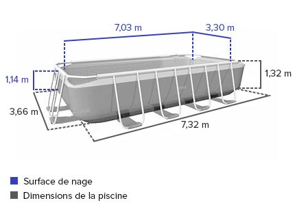 piscine tubulaire rectangulaire intex 7 32x3 66x1 32 m filtration. Black Bedroom Furniture Sets. Home Design Ideas