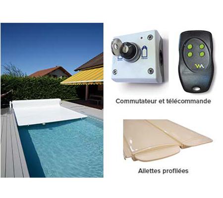 Volet piscine automatique hors sol abriblue open classic for Piece detachee pour enrouleur bache piscine