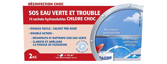 Chlore choc piscine en sachets eau verte et trouble 2 kg - Anti algues piscine sulfate de cuivre ...