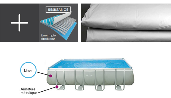 Liner piscine intex tubulaire rectangulaire gris fonc 5 for Liner piscine tubulaire