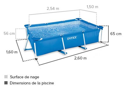 Piscine tubulaire rectangulaire intex 2 60 x 1 60 x 0 65 m for Piscine tubulaire hauteur 1 m