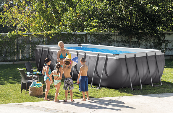 Piscine tubulaire rectangulaire intex 5 49x2 74x1 32 m for Vanne d arret piscine intex