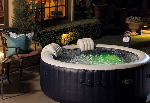 spa gonflable intex purespa rond bulles 4 places bleu nuit. Black Bedroom Furniture Sets. Home Design Ideas