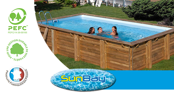 Piscine bois sunbay mod le marbella 4 x 2 5 x 1 19 m for Dimension piscine semi enterree