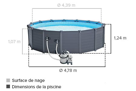 piscine tubulaire intex graphite 4 78 x 1 24 m filtration cadeau. Black Bedroom Furniture Sets. Home Design Ideas