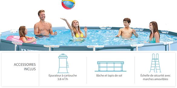 Piscine tubulaire ronde intex 4 57 x 1 07 m kit filtration for Accessoire piscine 07