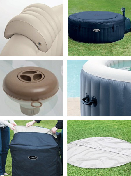 spa gonflable intex purespa rond bulles 4 places bleu nuit accessoires. Black Bedroom Furniture Sets. Home Design Ideas