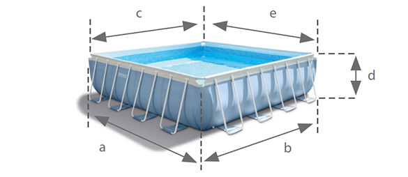 Piscine tubulaire carr e intex 4 88 x 4 88 x 1 22 m for Piscine carree intex