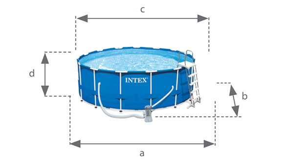 Piscine tubulaire ronde intex metal frame 4 57 x 1 07 m for Dimension piscine