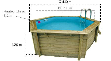 Piscine bois azura ubbink 4 1 x 1 2 m filtration for Dimension piscine