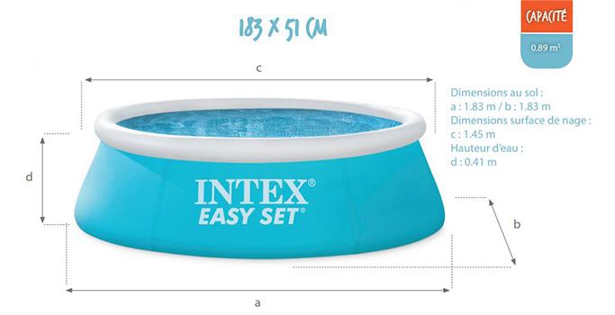 piscine autoport e intex mod le easy set 1 83 x 0 51 m. Black Bedroom Furniture Sets. Home Design Ideas