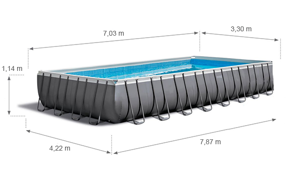 Piscine Tubulaire Rectangulaire Intex 7 32 X 3 66 X 1 32 M
