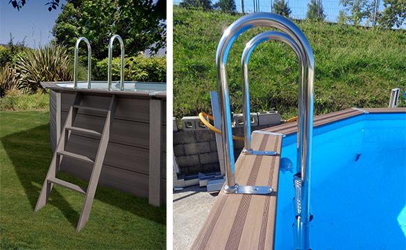 piscine bois composite gr avant garde ronde taille au. Black Bedroom Furniture Sets. Home Design Ideas