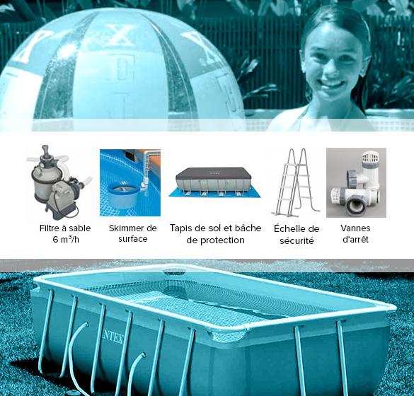 piscine tubulaire rectangulaire intex 7 32x3 66x1 32 m. Black Bedroom Furniture Sets. Home Design Ideas