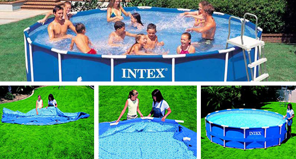Piscine tubulaire ronde intex metal frame 4 57 x 1 07 m for Piscine ronde intex