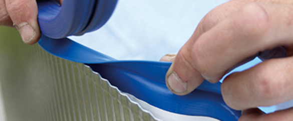 Liner seul bleu rail pour piscine acier gr en huit for Remplacement liner par resine piscine