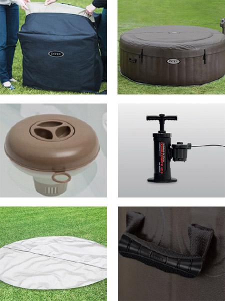 spa gonflable intex purespa rond jets 4 places accessoires. Black Bedroom Furniture Sets. Home Design Ideas