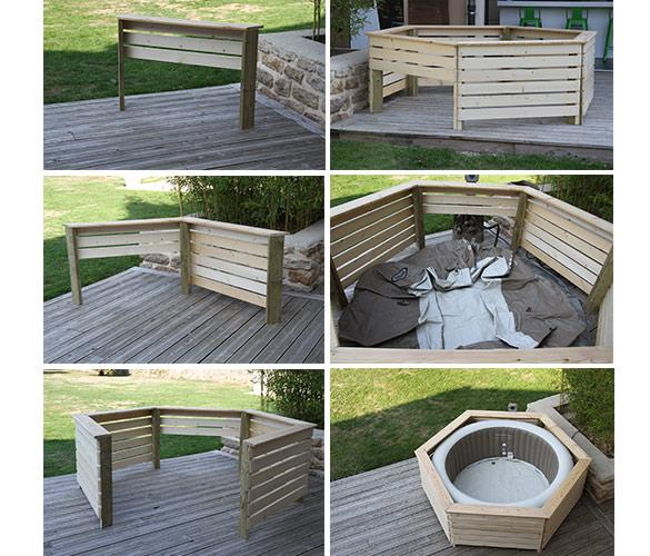 entourage en bois pour jacuzzi gonflable rond intex 4 places. Black Bedroom Furniture Sets. Home Design Ideas