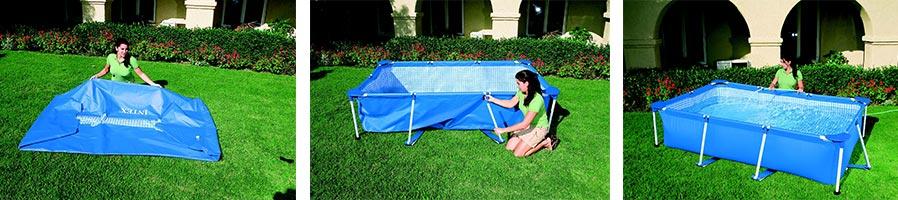 piscine tubulaire rectangulaire intex 3 x 2 x 0 75 m filtre et pompe. Black Bedroom Furniture Sets. Home Design Ideas