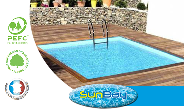 Piscine bois sunbay carr e mod le carra 3 x 3 x 1 19 m for Piscine carree semi enterree