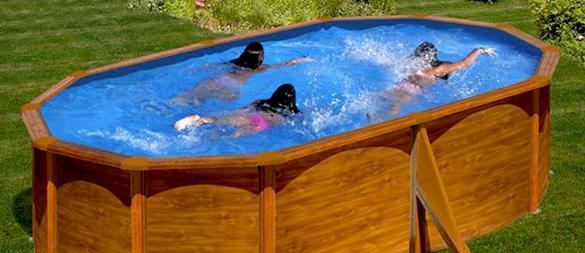 Piscine acier gr mod le sicilia ovale aspect bois 5 x 3 x - Mise en route piscine hors sol ...