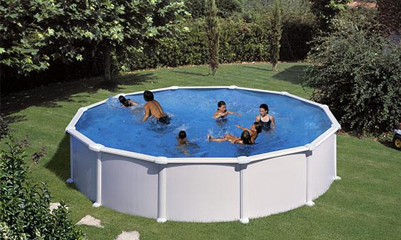piscine hors sol acier gr blanche ronde. Black Bedroom Furniture Sets. Home Design Ideas