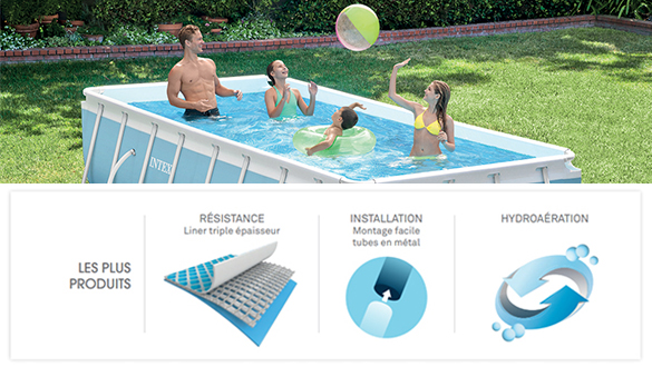 Piscine tubulaire rectangulaire intex 4 x 2 x 1 m kit for Resistance chauffante pour piscine