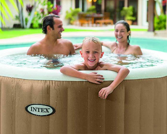 Spa gonflable intex 4 places rond bulles accessoires for Piscine a bulle gonflable